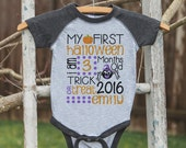 First Halloween Outfit - Spider My 1st Halloween Grey Raglan Onepiece or Shirt - Boys or Girls Custom Stat Shirt - Kids Happy Halloween Top