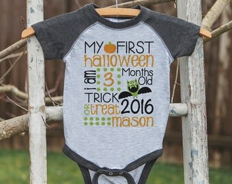 First Halloween Outfit - Bat My 1st Halloween Grey Raglan Onepiece or Shirt - Boys or Girls Custom Stat Shirt - Kids Happy Halloween Top