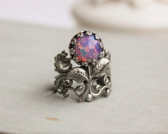 Fire Opal Flower Filigree Ring in Antique Silver or Antique Brass. Statement Ring