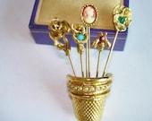 Thimble  Flower Basket  Pearl Multi Color Rhinestone Gold Tone Brooch