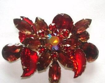 Red  Rhinestone Jewelry Brooch