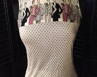 Pant suit, polka dot, Great Gatsby-inspired, flapper print from the 1970s – size 4-6