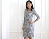 Womens Wrap Dress, Geometric Floral Dress, Black White Wrap Dress, Real Wrap Dress, Vines, Anthropology Print, Modest Wrap Dress - Kelly