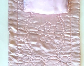 Doll Bedding - Mid Century - Quilt - Comforter - Pillow - Doll Bed Bedding - Pink - Lavender - Satin - Collectible - Vintage - Recycled