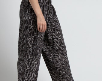 Vintage 90s Black Dotted Wide Leg Cropped Lounge Trousers | M