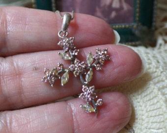 Vintage Sterling Silver .925 SIGNED Orange Quartz Flowers Cross 2.1g Pendant Necklace FREE Shipping