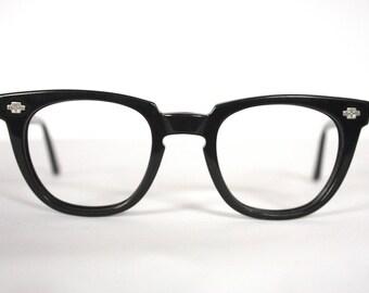 Rare Vintage 1950s Black Eyeglass Frames // 40s 50s Clubmaster Keyhole Glasses