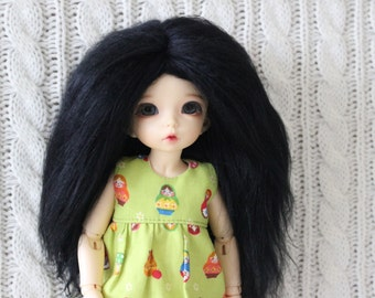 Black mohair wig for Littlefee / other YoSD sized / Unoa / Enyo doll