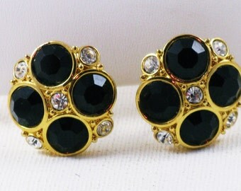 Vintage Swarovski Black Glass, Clear Crystal, Gold Tone Clip Earrings  (E-1-2)