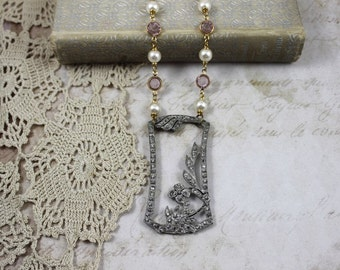 Art Deco Rhinestone Pendant Assemblage Necklace, Art Deco Floral Buckle Necklace with Lavender Crystals and Pearls, Deco Bridal Necklace