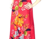 Vintage 60s Reef Hawaiian Dress Gathered Back 34 bust Maxi Polished Cotton 1960s Tiki Oasis