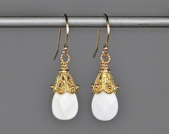 Onyx Earrings  - White Onyx Jewelry - Gold Wire Wrapped Earrings - White Gemstone Earrings - Gold Vermeil Earrings - Jewelry Gift for Her