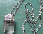 Raw Quartz Crystal  Pendulum Necklace ~ Chakra, Spiritual Jewelry