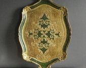 Green and Gold Tray - Vintage Gilded Vanity or Drink Tray - Made in Italy - Taormina Sicily