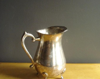Champion Vessel - Large Vintage Silverplate Water Pitcher - Large Silver Flower Urn