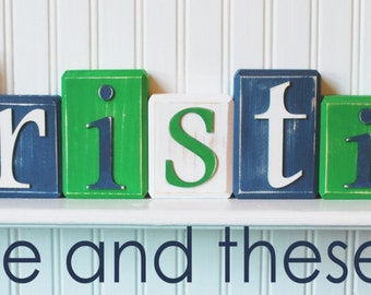 Wood letter name block-Price is per block-Custom to your style-Navy, green and white