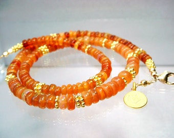 Opal Necklace, Welo Ethiopian Opal, Peach Pink Smooth AAA Rondelle Gemstones, 24K Gold Vermeil Bali Beads, Romantic Jewelry Discounted 50.00