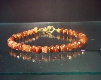 Gold Beaded Bracelet, Goldstone Bracelet, Gold Jewelry, Lovely Luxe Jewels, Gemstone Jewelry, Goldstone, Like Sunstone, Joie de Vivre, Hot