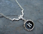 Typewriter Key Necklace - Simple Elegance - Letter B
