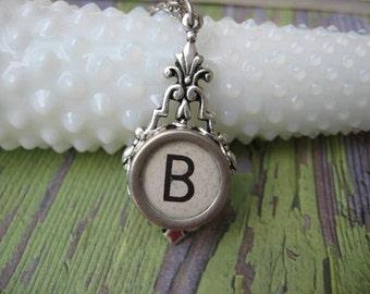 Typewriter Key Jewelry - Typewriter Necklace - Letter B - Typewriter Charm - Vintage Key