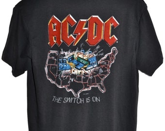 Vintage 80s 1983 AC/DC Flick of the Switch Rock & Roll Concert Tour T SHIRT