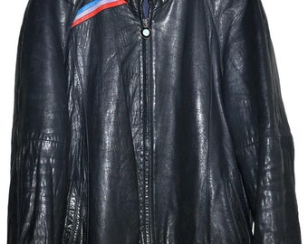 BMW M STYLE 1980s Vintage Midnight Blue Lambskin LEATHER Jacket Mens l Large xl Extra Large