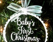 Baby's First Christmas Floating Ornament Baby Girl's 1st Christmas 2016 Gift Ornament, New Glitter Floating Ornament, Personalized Ornament