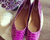 MAYA- Ballet Flats - Python skin leather Shoes - 38- Pink leather.