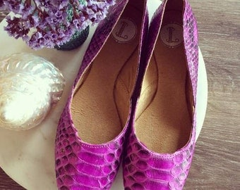 38 Sale MAYA- Ballet Flats - Python skin leather Shoes - 38- Pink leather. 38 on sale only