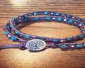 Leather Wrap Bracelet - Double Leather Wrap in Purple with Purple & Turquoise Beads  - Tree of Life Silver Button