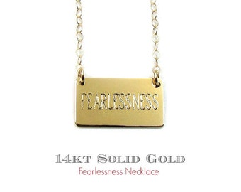 14kt Solid Gold FEARLESSNESS Necklace, Personalized Engraved Nameplate Necklace, Small Gold Bar Necklace as seen on Mariska Hargitay