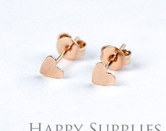 10Pcs (5 pairs) Nickel Free - High Quality 5mm Rose Golden Brass Heart Earring Posts Findings with Ear Studs Back Stoppers (ZE156-R)
