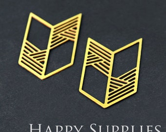 Exclusive - 6pcs Raw Brass Geometry Charm / Pendant, Fit For Necklace, Earring, Brooch (RD230)