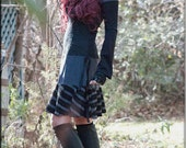 Dress - Steampunk - Bohemian Gypsy - Burning Man - Playa wear - Boho Fashion - Sexy - Short Dress - Grey and Black - Size X- Small