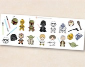 Star Wars Stickers Classic Characters, Chibi kawaii Star Wars characters ,illustration stickers, erin condren, life planner