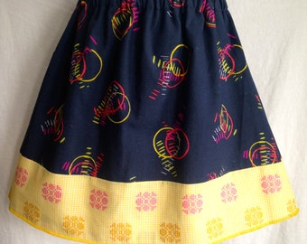 Size 5 Black and Yellow Patterned Girls Skirt