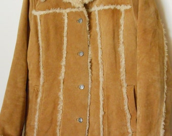 FREE SHIPPING Vintage Tan Brown Southwestern Boho Wilsons Leather Fur Maxima Coat    size large