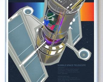11 x 14 - Hubble Space Telescope - Science Poster Print, Science Poster Art Print Original Illustration - Stellar Science Series™