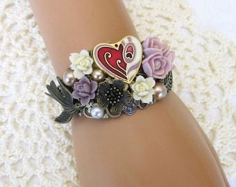 Cuff Bracelet, Flower Bracelet, Assemblage Jewelry, Handmade Bracelet, Purple Bracelet, Gold Bracelet, Chunky Bracelet, Bracelet Cuff, B309