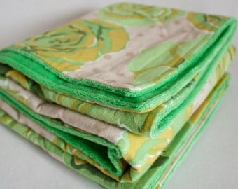 Green Rose Cuddly Baby Blanket. Super Soft Baby Receiving Blanket with Flannel and Minky. Gender Neutral Baby Blanket