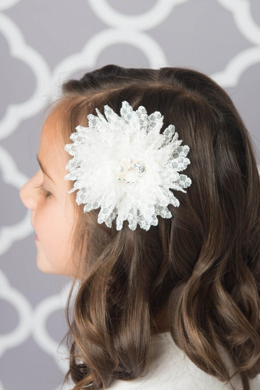 white lace flower clip, white bow, flower hair clip, lace ...