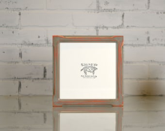 """8x8"""" Square Picture Frame in Shallow Bones Style with Super Vintage Deep Orange under Grey Finish - Can Be Any Color - 8x8 Photo Frame"""