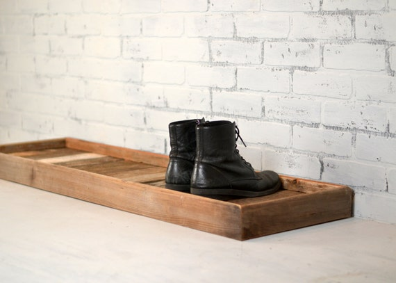 Boot Tray Made from Reclaimed Wood - Shoe Storage Entryway Organization - 36 inches Long by 15 inches Wide - Customizable