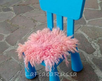 newborn props, curly basket filler mini Flokaty pink peach curly wool felt fur rug - , blanket wool fluff mat, by Lafiabarussa,
