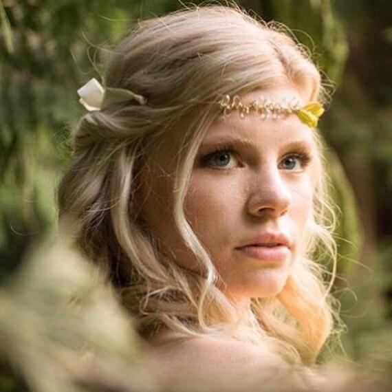 Leaf Bridal Hair Piece, Gold Wedding Headpiece, Gold Tiara, Leaf Headpiece, Gold Hair Vine, Forhead Hair Vine, Bridal Forhead Band