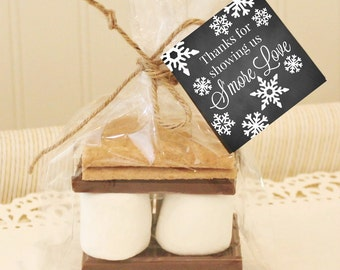 S'mores Party Favor Kit, 12 S'mores Favor Kits, DIY Favor Kits with Chalkboard Tag, S'mores Kit, S'mores Bar, S'mores Love, Wedding Favors