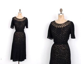 Vintage 1950s Dress / 50s Ribbon Crochet Knit Dress / Black (large L)