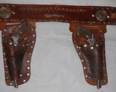 1950s Roy Rogers Double Rig Cap Gun Set Carved Leather Holster