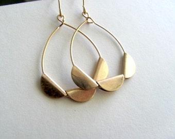 Golden triple crescent chandelier earrings with 14k gold plate fixtures, dangle drop earrings, boho earrings, bohemian jewelry, tear drop