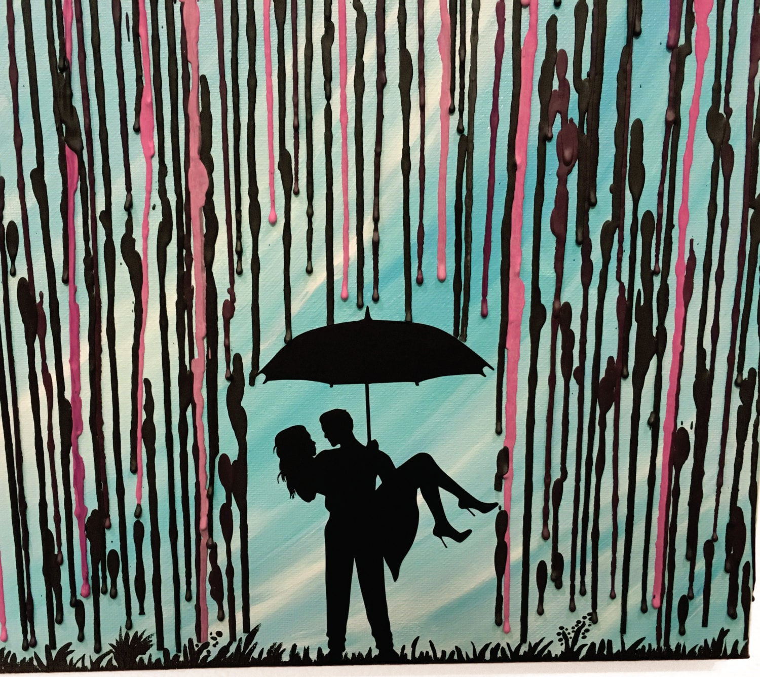 Wedding Gift Art Melted Crayon Art In The Rain Art Couple